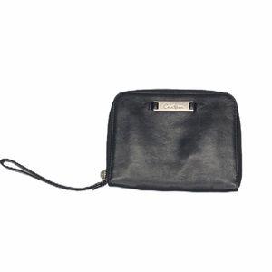 Cole Haan black leather zip around